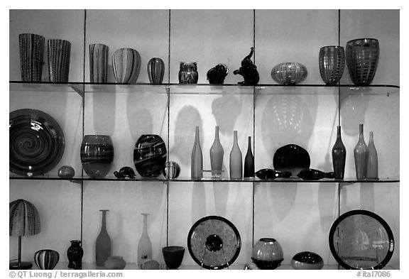 Murano Glasswork on exhibit. Venice, Veneto, Italy (black and white)