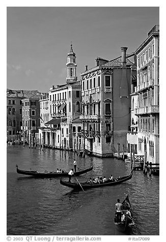 Grand Canal seen from the Rialto Bridge. Venice, Veneto, Italy (black and white)