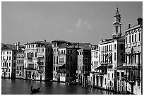 Grand Canal seen from the Rialto Bridge. Venice, Veneto, Italy ( black and white)