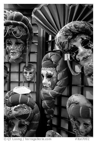 Carnival masks. Venice, Veneto, Italy (black and white)