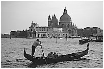 Gondola,  Santa Maria della Salute church, late afternoon. Venice, Veneto, Italy (black and white)