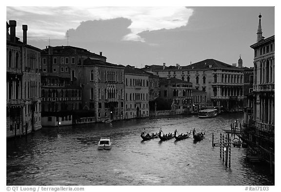 Gondolas, Grand Canal, from the Academy Bridge,  sunset. Venice, Veneto, Italy (black and white)