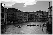 Gondolas, Grand Canal, from the Academy Bridge,  sunset. Venice, Veneto, Italy ( black and white)