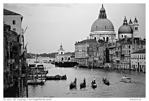 Black and white picture photo gondolas grand canal santa maria della salute church from the academy bridge dusk venice veneto italy