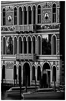 Beautiful colored marbles on facade of Palazzo Dorio (1487), the Grand Canal. Venice, Veneto, Italy (black and white)