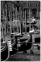 Gondolas prows, with their characteristic ferri. Venice, Veneto, Italy ( black and white)