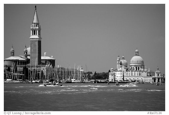 Campanile and Santa Maria della Salute across the Canale della Guidecca, mid-day. Venice, Veneto, Italy (black and white)