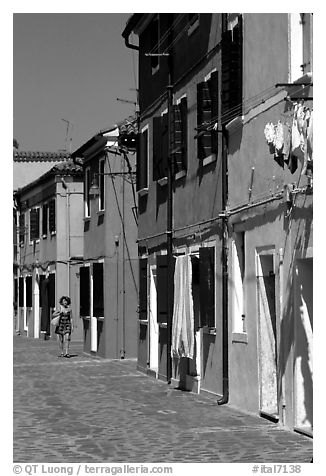 Distinctive, brightly painted houses, Burano. Venice, Veneto, Italy (black and white)
