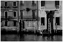 Facade along the Grand Canal. Venice, Veneto, Italy (black and white)