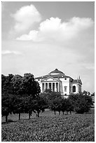 Orchard and Paladio Villa Capra La Rotonda. Veneto, Italy ( black and white)
