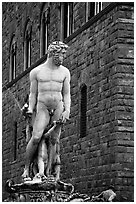 Fontana di Nettuno (Fountain of Neptune) in front of palazzo Vecchio. Florence, Tuscany, Italy ( black and white)