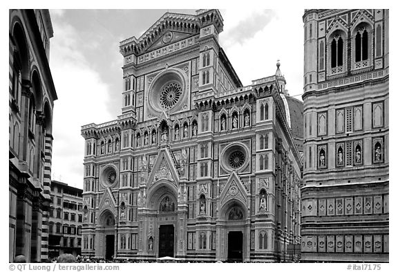 Facade of the Duomo. Florence, Tuscany, Italy (black and white)