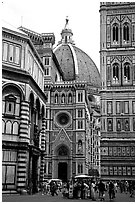 Baptistry, Campanile tower, and Duomo. Florence, Tuscany, Italy (black and white)