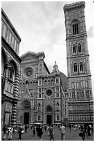 Campanile tower and Duomo. Florence, Tuscany, Italy (black and white)