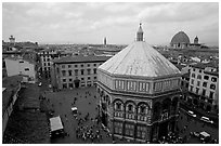 Baptistry and plazza. Florence, Tuscany, Italy (black and white)