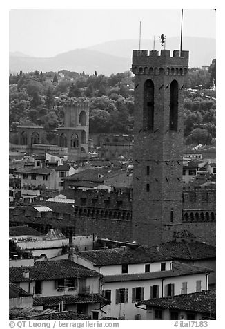 Bell tower, palazzo Vecchio. Florence, Tuscany, Italy (black and white)