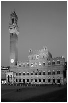 Piazza Del Campo and Palazzo Pubblico at dusk. Siena, Tuscany, Italy ( black and white)