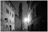 Street and church at dawn. Siena, Tuscany, Italy (black and white)