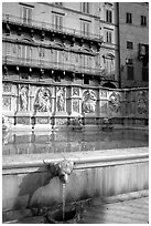 15th century Fonte Gaia and houses  on Il Campo. Siena, Tuscany, Italy ( black and white)