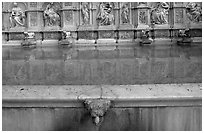 15th century Fonte Gaia (Gay Fountain). Siena, Tuscany, Italy (black and white)