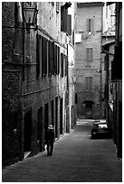 Narrow street. Siena, Tuscany, Italy ( black and white)
