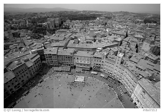 Piazza Del Campo and houses seen from Torre del Mangia. Siena, Tuscany, Italy (black and white)