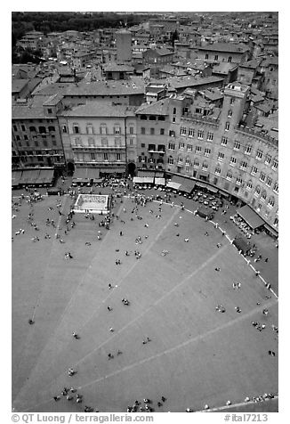 Section of medieval Piazza Del Campo seen from Torre del Mangia. Siena, Tuscany, Italy (black and white)