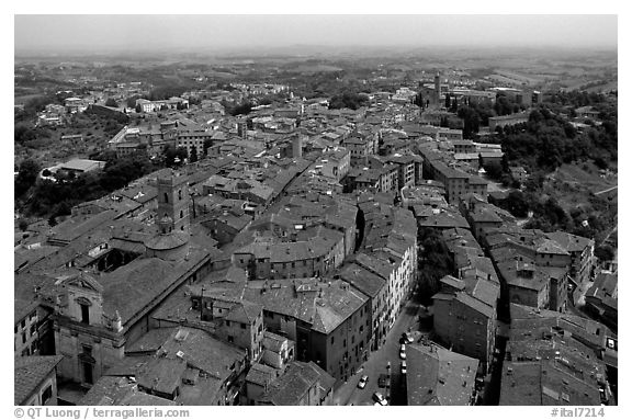 Historic town seen from Torre del Mangia. Siena, Tuscany, Italy (black and white)