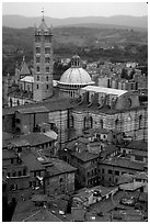 Duomo seen from Torre del Mangia. Siena, Tuscany, Italy ( black and white)