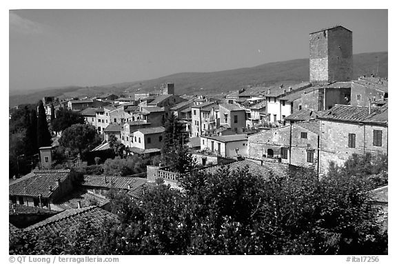 View of the town. San Gimignano, Tuscany, Italy (black and white)