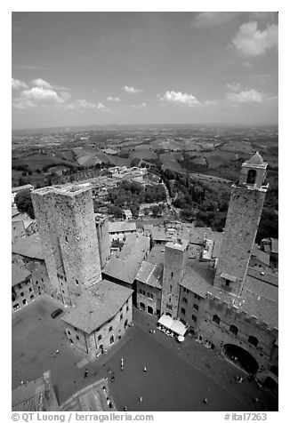 Piazza del Duomo seen from Torre Grossa. San Gimignano, Tuscany, Italy (black and white)