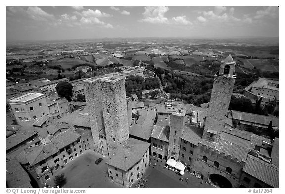 Plazza and towers  seen from Torre Grossa. San Gimignano, Tuscany, Italy (black and white)