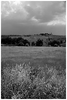 Field and distant village under storm skies. Tuscany, Italy ( black and white)