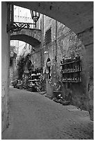 Old street and arches. Orvieto, Umbria (black and white)