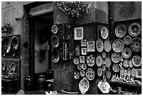 Ceramic plate store. Orvieto, Umbria (black and white)