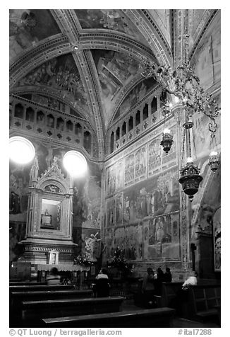 Side chapel inside the Duomo. Orvieto, Umbria (black and white)