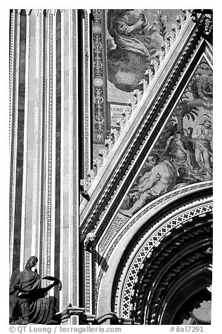 Facade detail of the fresco on Duomo. Orvieto, Umbria (black and white)