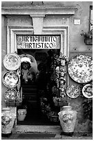 Doorway of the ceramic store. Orvieto, Umbria (black and white)
