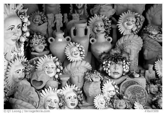 Terra Cotta ornaments. Tivoli, Lazio, Italy (black and white)