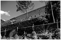 The Villa d'Este seen from the lower terraces of the garden. Tivoli, Lazio, Italy (black and white)