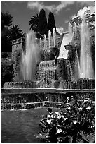 Largest fountain in the gardens of Villa d'Este. Tivoli, Lazio, Italy (black and white)