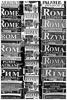 Tourist guides about Rome in all languages. Rome, Lazio, Italy ( black and white)