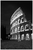 Colosseum at night. Rome, Lazio, Italy (black and white)