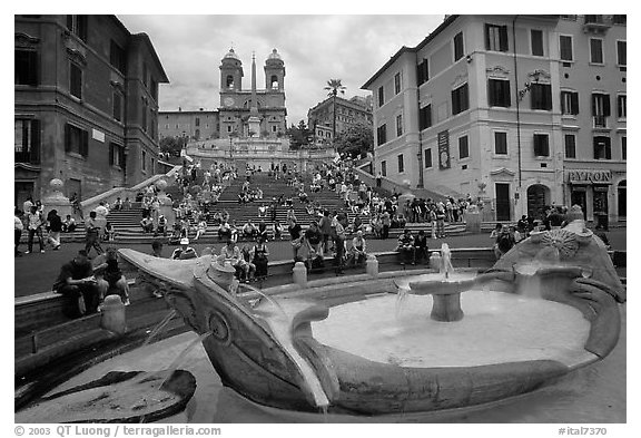 Black and white fontana della barcaccia at the foot of the spanish steps rome lazio italy