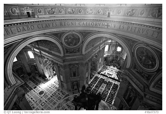 Interior of Basilica San Pietro (Saint Peter) seen from the Dome. Vatican City (black and white)