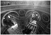 Interior of Basilica San Pietro (Saint Peter) seen from the Dome. Vatican City ( black and white)