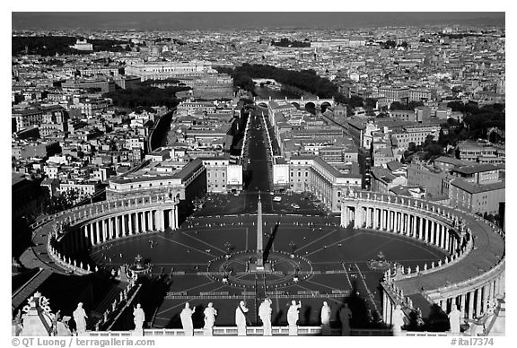 Piazza San Pietro seen from the Dome. Vatican City (black and white)