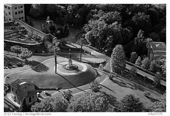 Vatican gardens seen from the Dome. Vatican City (black and white)