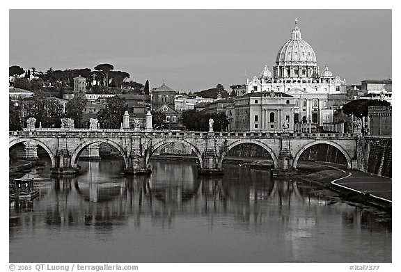 Ponte Sant'Angelo over the Tiber, and Basilica San Pietro, sunrise. Vatican City (black and white)