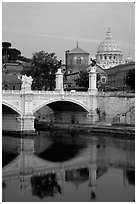 Ponte Sant'Angelo and Basilica San Pietro, sunrise. Vatican City (black and white)